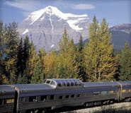View of a VIA train in the Rockies
