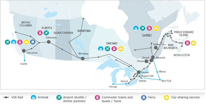 Map of Canada with VIA Rail routes. Intermodal stations are identified with alternative transportations icons.