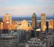 Downtown Montreal with many hotels