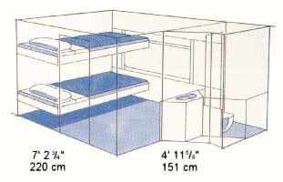 Cabin for 2 car diagram in 3 dimensions