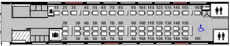 Diagram of the LRC car in Business class with the 50-50 seat configuration