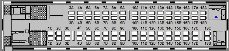 Diagram of the LRC car in Economy class with the 50-50 seat configuration
