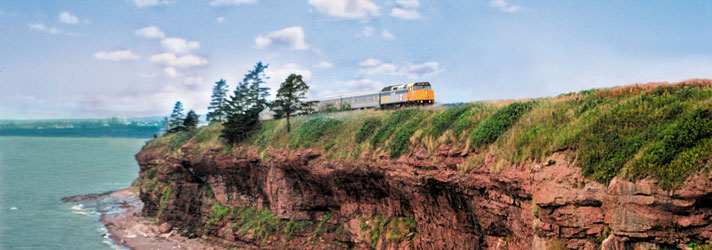 VIA train with an amazing Gaspé Peninsula landscape