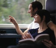 Couple travelling onboard VIA train