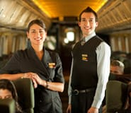 Two VIA Rail employees in a chartered-cars