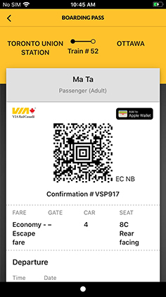 Display your E-boarding pass