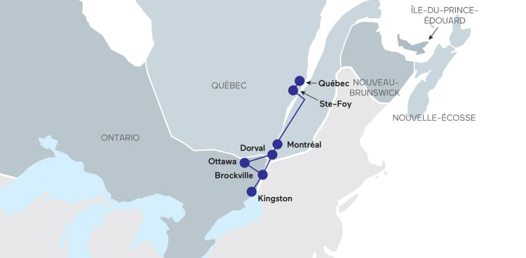 Carte du tain Québec-Kingston