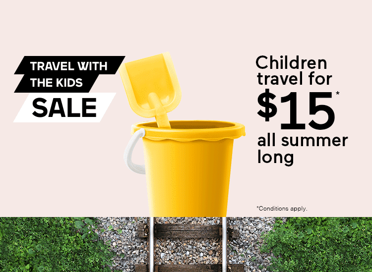 Travel with the kids sale - Children travel for $15 all summer long *Conditions apply.