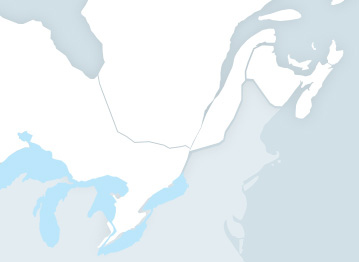 Map of Québec and Ontario